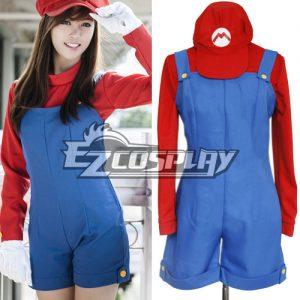 Feminine Super Mario Bros Mario Cosplay Costume