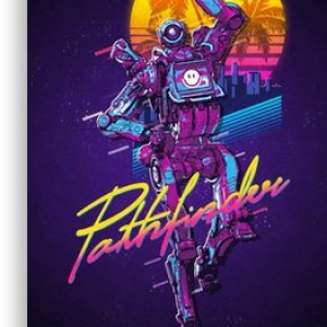 Apex Legends – Pathfinder 80s Retro Vaporwave Poster Canvas Print