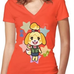 Isabelle of Animal Crossing Women's Fitted V-Neck T-Shirt